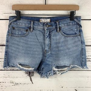 Free People Distressed Hem Denim Shorts
